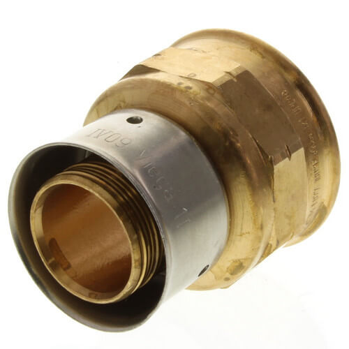 """Bronze 1"""" PEX Press x 1"""" F NPT Adapter w/ Attached Sleeve Product Image"""