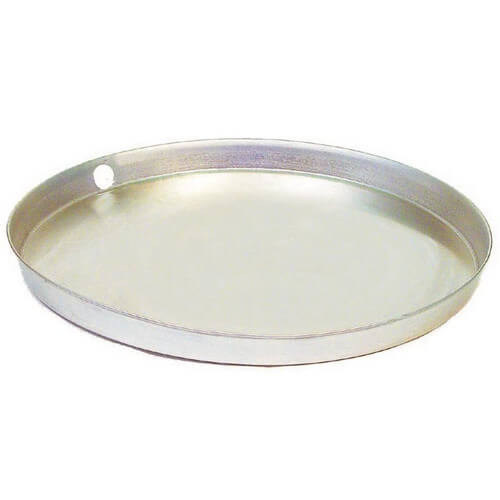 "22"" Aluminum Water Heater Pan w/ PVC Drain Fitting"