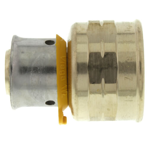 "Zero Lead Bronze 1"" PEX Press x 3/4"" F NPT Adapter w/ Attached Sleeve"