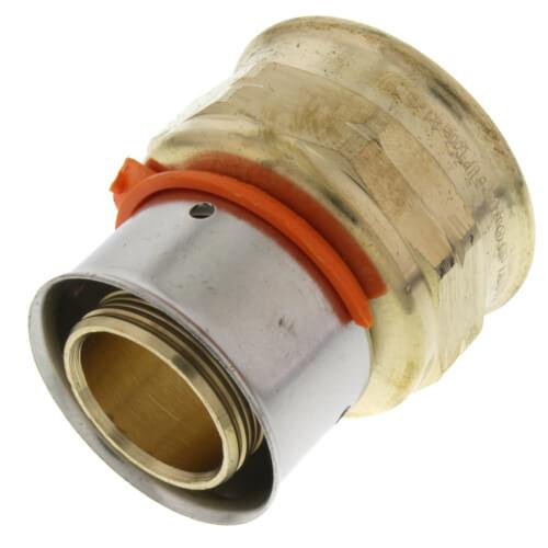 "Zero Lead Bronze 1"" PEX Press x 1"" F NPT Adapter w/ Attached Sleeve Product Image"