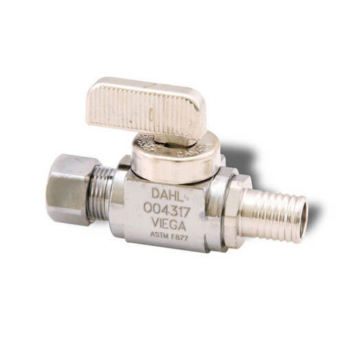 "3/8"" PEX Press Straight Stop Valve (Lead Free)"