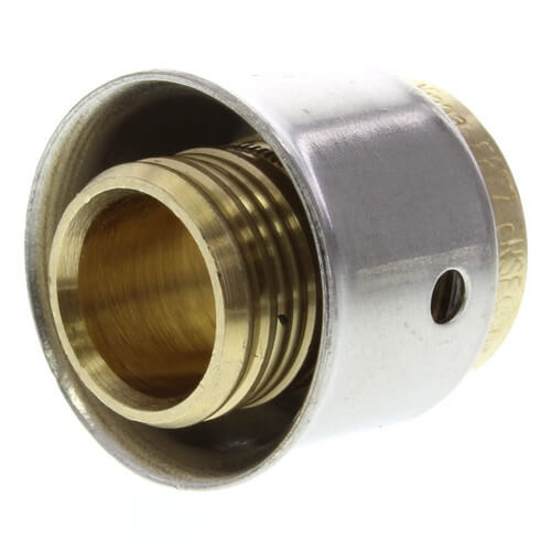 "Zero Lead Bronze 1/2"" PEX Press Coupling w/ Attached Sleeve"