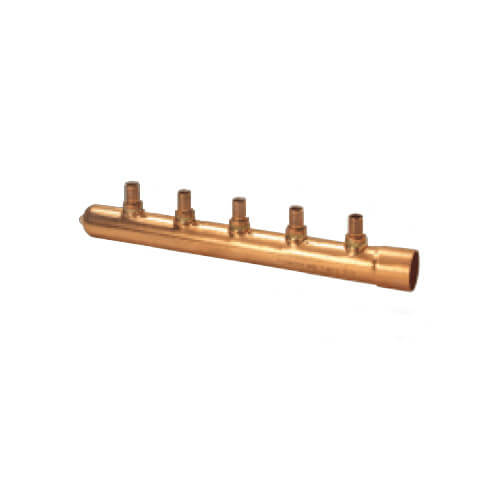 "Zero Lead 1"" x 1/2"" PEX Press Brazed Copper Manifold - 6 Outlets (F)"