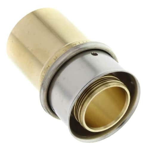 "1/2"" PEX Press x 1/2"" Copper Fitting Adapter w/ Attached Sleeve (Lead Free Bronze)"
