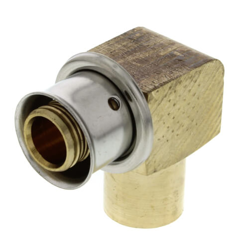 "1/2"" PEX Press Copper Pipe Adapter w/ Attached Sleeve (Lead Free Bronze)"