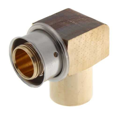 "Zero Lead Bronze 3/4"" PEX Press x 1/2"" (female) or 3/4"" (male) Copper Fitting or Tubing Elbow w/ Attached Sleeve Product Image"
