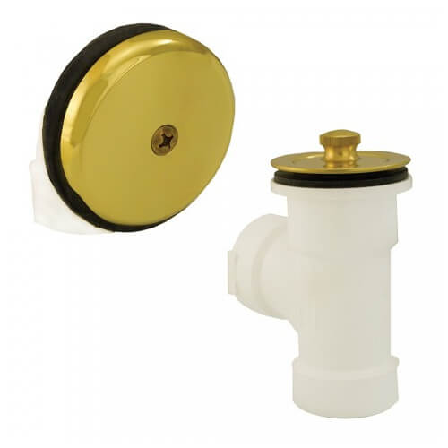 Bath Waste T-Waste Half Kit - PB Lift & Turn Drain w/ 1 Hole Face Plate (PVC)