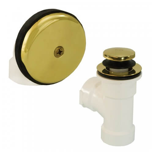 Bath Waste T-Waste Half Kit - PB Toe Pop-Up Drain w/ 1 Hole Face Plate (PVC) Product Image