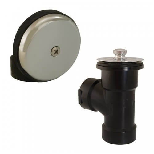 Bath Waste T-Waste Half Kit - CP Friction Lift Drain w/ 1 Hole Face Plate (ABS)