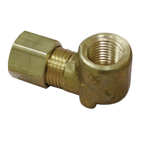 "(70-46) 1/4"" OD x 3/8"" FIP Brass Compression Elbow"