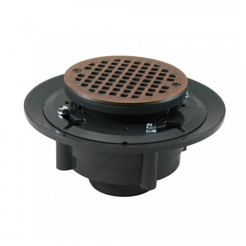 "2"" x 3"" Old World Bronze Heavy Duty Shower Drain w/ 5"" Round Strainer Product Image"