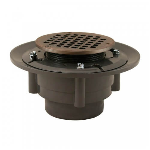 "3"" x 4"" Old World Bronze Heavy Duty Shower Drain w/ 5"" Round Strainer"