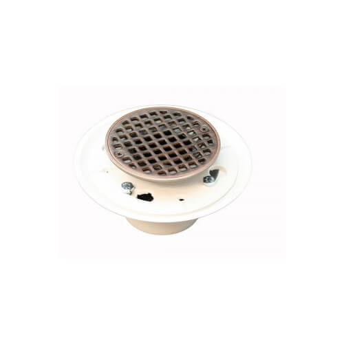 "2"" x 3"" Old World Bronze Shower Drain w/ 4-1/4"" Round Strainer"