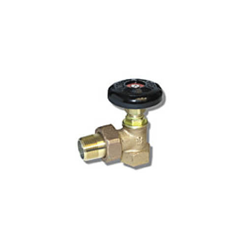 "1/2"" (FIP x Male Union) Hot Water Angle Radiator Valve"