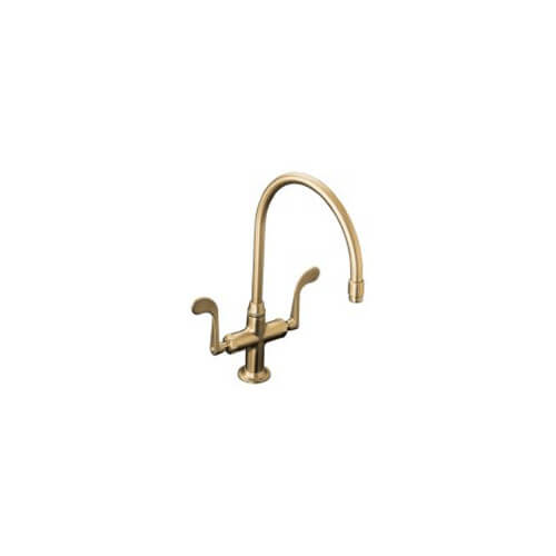 Essex Kitchen Sink Faucet With Wristblade Handles, Less Sidespray - Vibrant Brushed Bronze