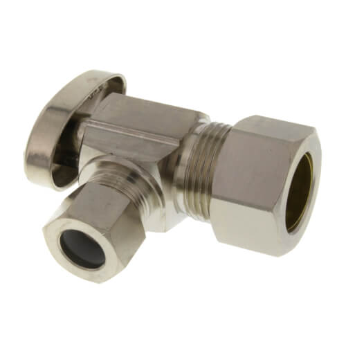 "1/2"" PEX Compression Angle Stop Valve (Lead Free Brass) Product Image"
