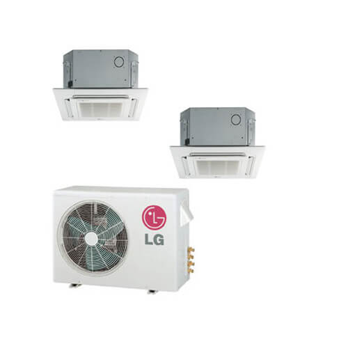 2 Zone Cool-Heat Multi-Split Ceiling Cassette Package - 18,000 BTU