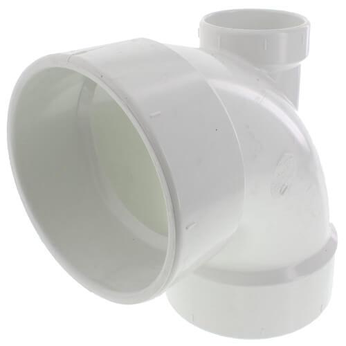 "4"" PVC DWV 90° Elbow (w/ 2"" Low Heel Inlet) Product Image"