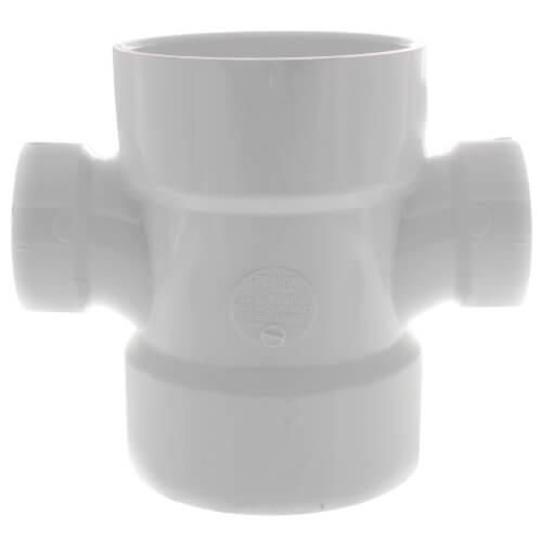 "3"" x 1-1/2"" PVC DWV Double Sanitary Tee Product Image"