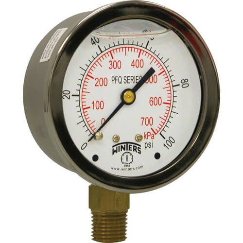 "2-1/2"" Stainless Steel Liquid Filled Gauge, 1/4"" Back NPT w/ Brass Internals (0-600 PSI)"