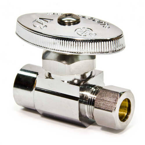 "1/2"" Nom. Sweat x 3/8"" O.D. Compr. Straight Stop Valve (Chrome Plated)"