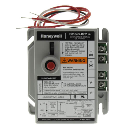 Protectorelay Oil Burner Control with 45 seconds lock out timing, with remote alarm dry contacts