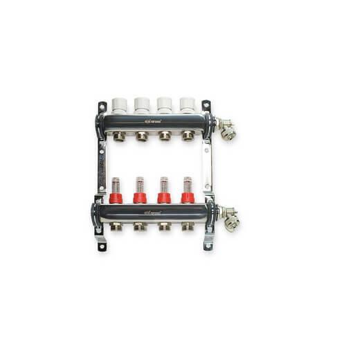 """4 Loop Stainless Steel Manifold Package - 1/2"""" PEX"""