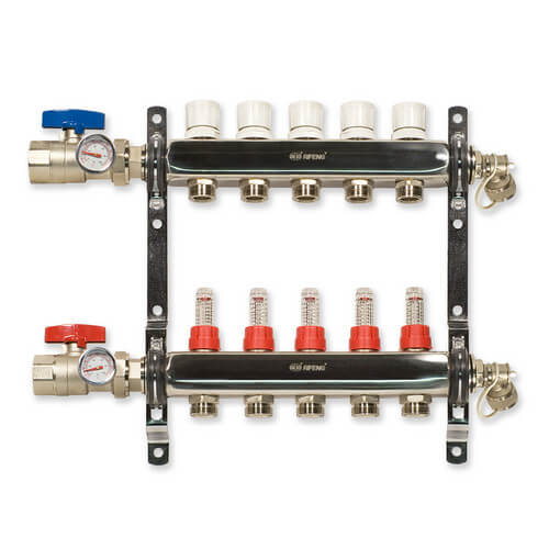 6-Loop Stainless Steel Radiant Heat Manifold