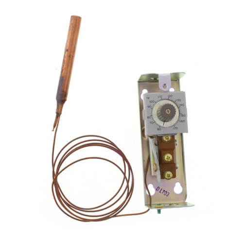 Remote bulb Commercial Temperature Controller, 55 F to 175 F, 5 ft. capillary, Copper bulb sensing element