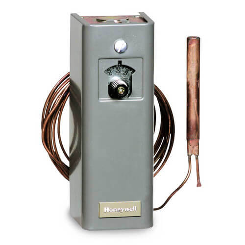 Remote bulb Commercial Temperature Controller, 30 F to 50 F, 20 ft. capillary, Copper bulb sensing element, Manual Reset