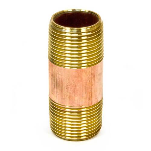 """1/4""""x 6"""" Brass Nipple"""