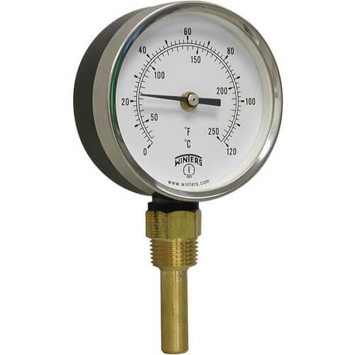 "3-1/2"" TBT Bi-Metal Bottom Mount Thermometer (30°F to 250°F & 0°C to 121°C)"