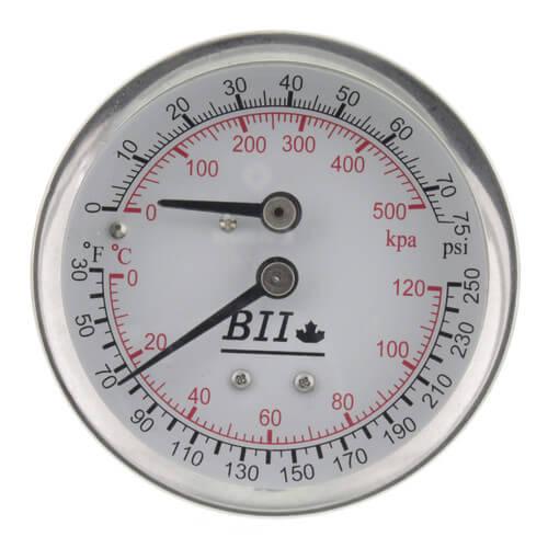 """1/4"""" NPT, 2.5"""" Face, Temperature & Pressure Gauge (Tridicator) Product Image"""