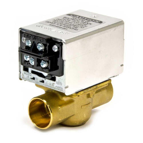 "1"" Sweat Connection Zone Valve, normally closed, w/ screw terminal block connection, 8 Cv (24v)"