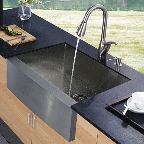 Apron Front Stainless Steel Kitchen Sink With Vigo Vg02017 Faucet And Soap Dispenser Product Image