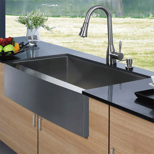 Apron Front Stainless Steel Kitchen Sink with Vigo VG02013 Faucet and ...