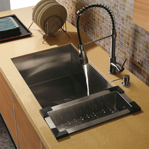 Undermount Stainless Steel Kitchen Sink With Vigo VG02003 Faucet, Soap  Dispenser, And Colander Product
